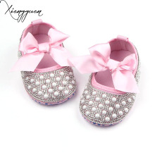 High Quality Elastic Band Butterfly-knot Checkered with Pearl Design Shallow Newborn Baby Girls Casual Shoes For 0-15 Months(China)