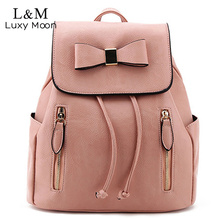 2017 Fashion Bow Leather Backpack Sweet Lady Pink Backpacks Black Drawstring High Quality Casual Bags Daily brown mochila XA471H