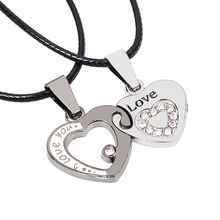 Free shipping 2016 I Love You Heart Pendant Couple Lovers Necklaces Women Men Titanium Chain Necklace Fashion Jewelry Colar 3022