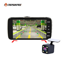 "TOPSOURCE 4"" ips screen Mini Car DVR Full HD Front 1080P Back 720P Dual Lens Rearview Camera dash Cam AIT 8328P with Adas Ldws(China)"