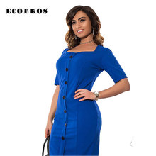 Buy ECOBROS Big size 6XL 2017 Summer New Fat MM Woman office Dress bodycon solid patchwork long dresses plus size women clothing 6xl for $17.99 in AliExpress store