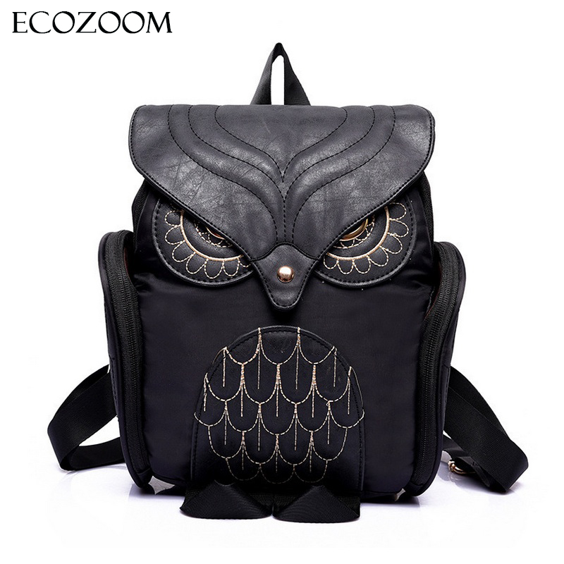 Newest Fashion Women Nylon Owl Backpack Female Cartoon School Bags Mujer Gothic Mochila Escolar Girls Stylish Cool Bagpack Black<br><br>Aliexpress