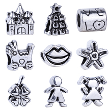 1pc Free Shipping Silver Bead Charm European Baby Carriage Boy Girl Clover Love Heart Bead Fit Pandora Bracelets & Necklace