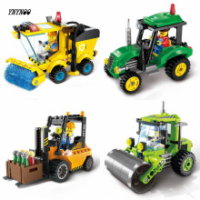 YNYNOO City Construction Road Roller Forklift Truck Tractor Sweeper Truck Building Block Mini Kids Toy Compatible Lepin