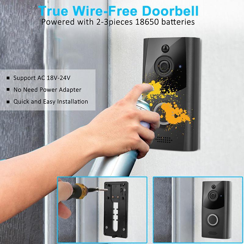 Wireless Smart WiFi Door Bell IR Video Visual Ring Camera Intercom Home Security