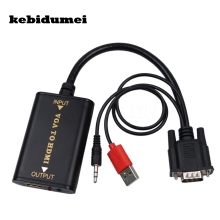 kebidumei Portable Plug and play VGA To HDMI Output 1080P HD Audio TV AV HDTV PC Video Cable VGA2HDMI Converter Adapter(China)