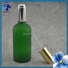 Essential Oil Glass Bottles100ml Green Frosted Glass Bottle with Dropper E Cig Liquid Mini Glass Bottles with Corks E-Liquid(China)