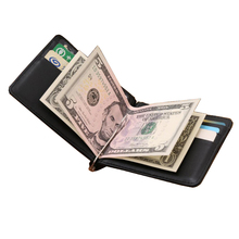 Hot Sale Fashion New Men Money Clips Black Red Color Genuine Leather 2 Foldes Open Clamp For Money With Crads Bits Free Shipping(China)