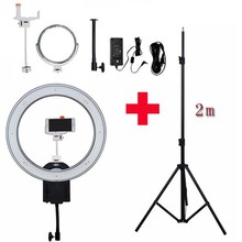 "NanGuang CN-R640 Photography/Photo/Studio/phone 19"" 640 LED 5600K Dimmable Camera Ring Video Light Lamp & Tripod Stand/Mirror"