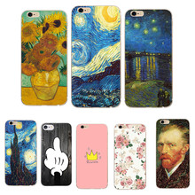 Phone Case for iphone 8 8X 7 Plus Soft TPU Thin Silicone Van Gogh Starry Night Cover Case For Apple iphone 5 5S SE 6 6S 7 Coque(China)