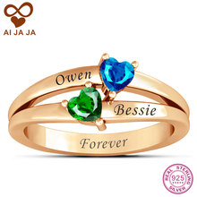 Personalized Name Engraved Birthstone Rings Love's Promise Rose Gold Color Engagement Ring Customized Sterling Silver Jewelry
