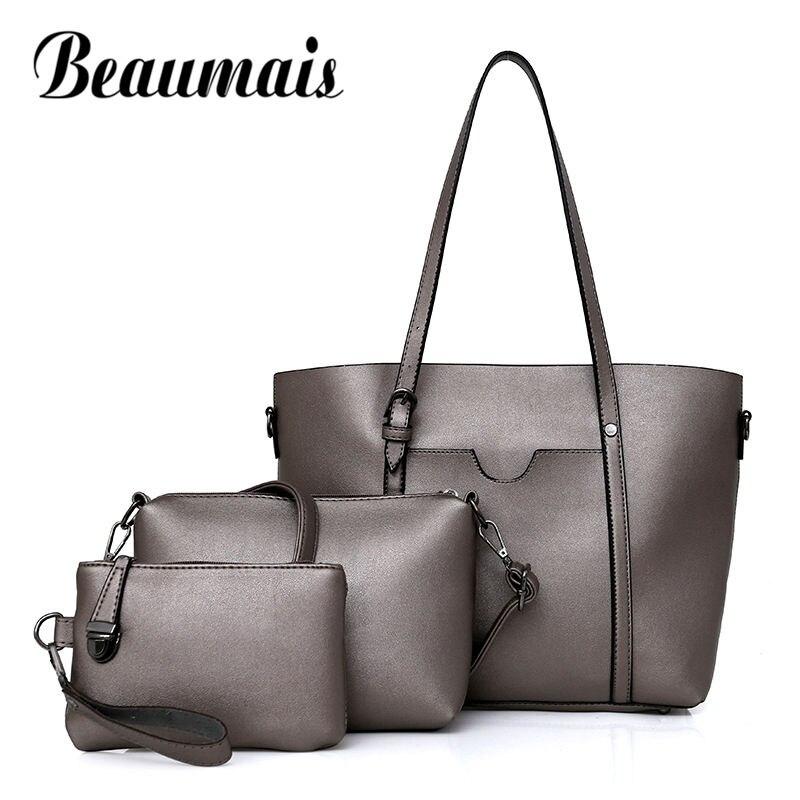 Beaumais 3 Sets Shoulder Bags Women Fashion Large Capacity Women Handbags Soft Leather Totes Ladies Blosas Female Clutch DF0090<br>