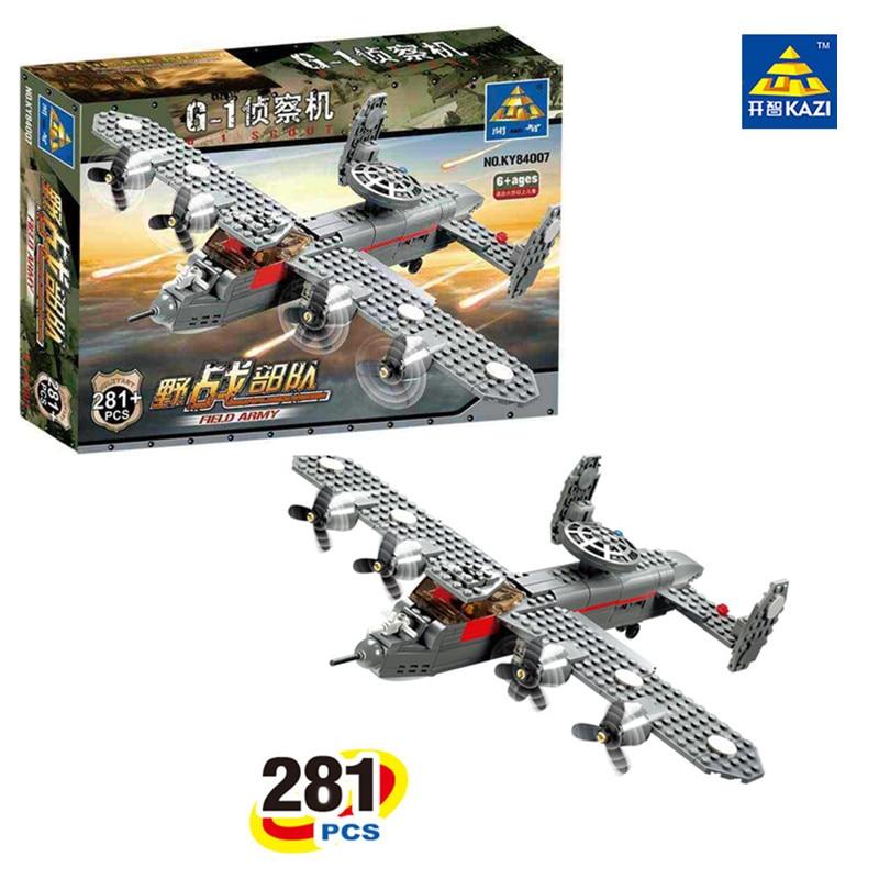 281pcs 2016 KAZI 84007 Military Weapons Series G-1 Reconnaissance Aircraft Building Block  Toys For Children<br><br>Aliexpress