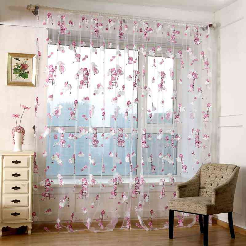 1pcs Lovely Children Cartoon Voile Curtain Cute Bear Blackout Curtains Window Treatments Curtains for Boys Girls Kids Bedrooms