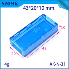 1 piece, 43*20*10mm clear blue/ white plastic usb enclosure small plastic box electronics project housing case handheld pcb box