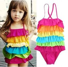 Girls Swimwear Kids Girls Swimsuit Bathing Tankini Swimming Clothes Rainbow Girls One-Piece Swimsuits Size 3T 4T 6T 8T