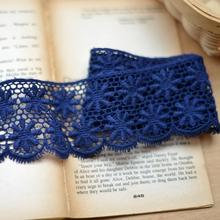 F133 dark blue cotton embroidered lace Diy clothing soluble lace cotton lace accessories 5.5cm width