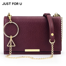 Buy JUST FOR U Geometric Designer Chain Women's Shoulder Bag, Female Hasp Flap Handbags Lady Girls Solid Small Crossbady Bags Purse for $23.60 in AliExpress store