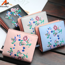 New Chinese Wind Thorn Embroidered  fresh Women Wallets short PU Leather Wallet Female Card holder Clutch Coin Purse wallet 40