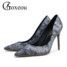 Brand Womens shoes High heels Sexy pointed teo Shallow Thin heels 2017 Pumps Office Party Lastest Night-Club Gray(China)