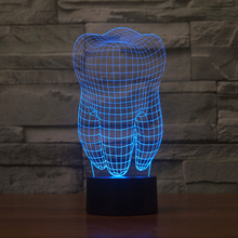 New Cool 3D Tooth Teeth LED USB Lamp Atmosphere RGB Night Light Colorful Kids Toys Bedroom Desk Table Light as Gift Dentis Decor