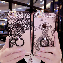 2017 New Fashion Girl Woman Lady Style Diamond Ring Holder Lace PC Case For iPhone 6 6S 7Plus Clear Flower Phone Cover Case