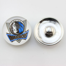 basketball team Dallas Mavericks 18mm Glass Button Snap Jewelry Sports Jewelry Fit For Ginger Snap Bracelet 10pcs/lot(China)