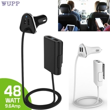 Auto 4 Ports 48W Car Charger Adapter with Extension Cable and Charging Hub for Fron for iPhone  for ipad  for Samsung led JAN18