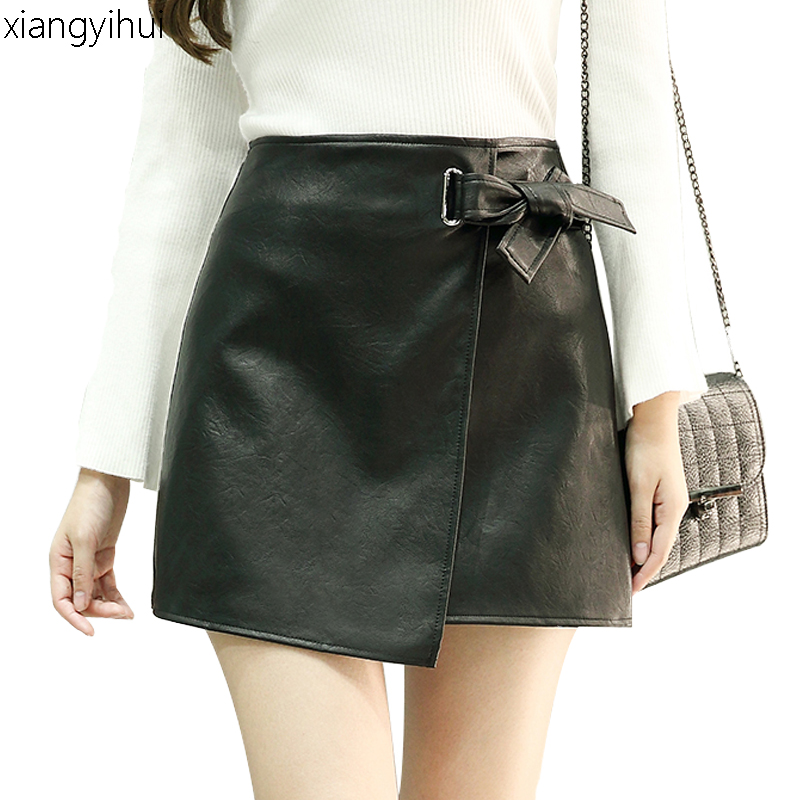 Fashion Autumn Winter Black Pu Leather Skirt Women Faux Leather Lace-up High Waist Mini Skirts Office Ladies Work Skirt 2017