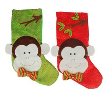 Cute Christmas Monkey Stockings Socks Decoration Candy Gift Holders Bags Home Party Tree Hanging Ornaments Adornos Navidad(China)