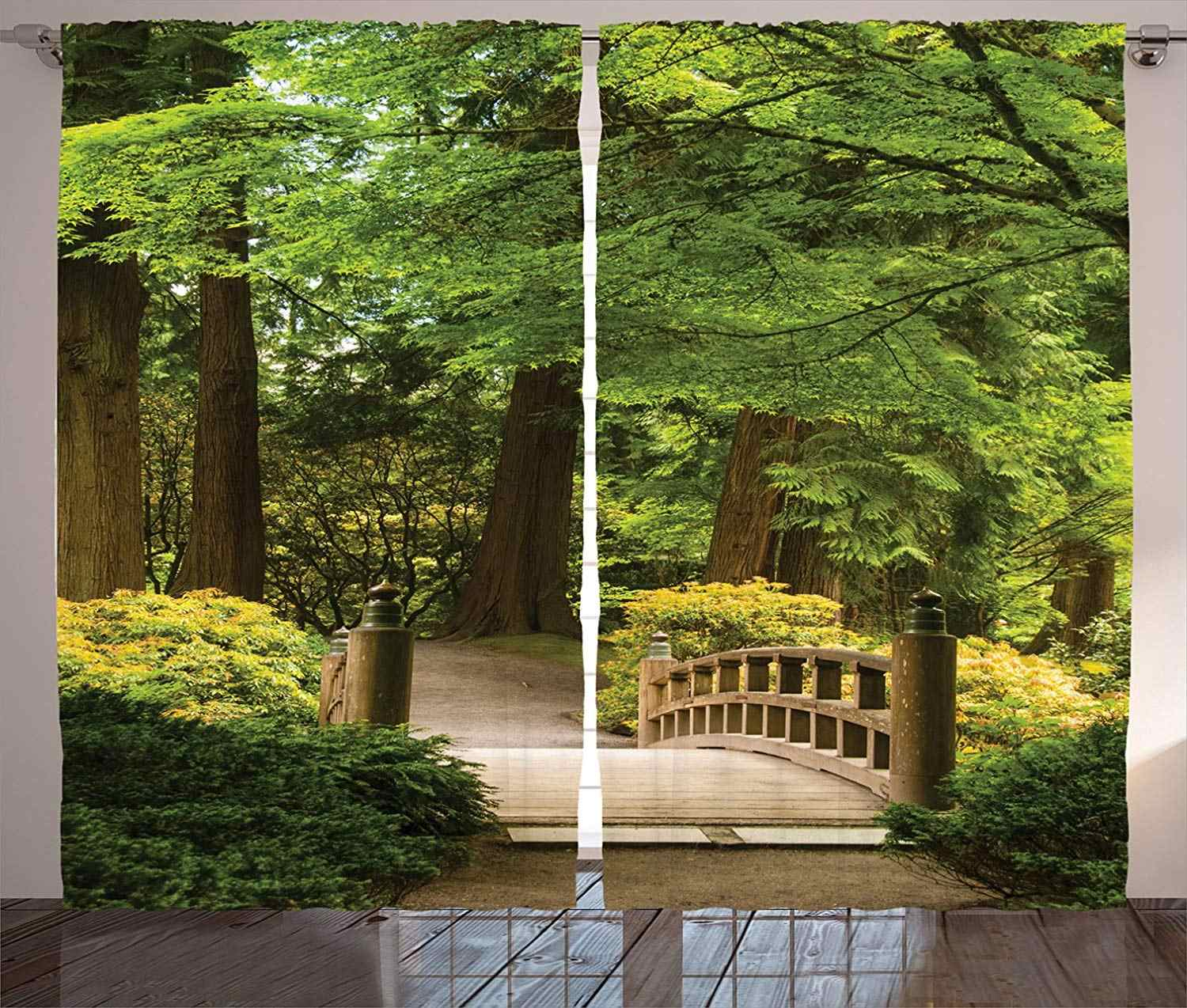 Japanese Curtains Wooden Bridge Over A Pond Garden Calmness Shadow Trees Serenity Nature Living Room Bedroom 2 Panel Set