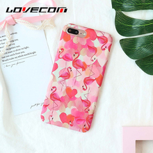 LOVECOM Cute Watercolor Flamingo Ptinted Phone Cases For iPhone 7 Plus 6 6S Plus Matte Hard PC Full Protect Back Cover Coque