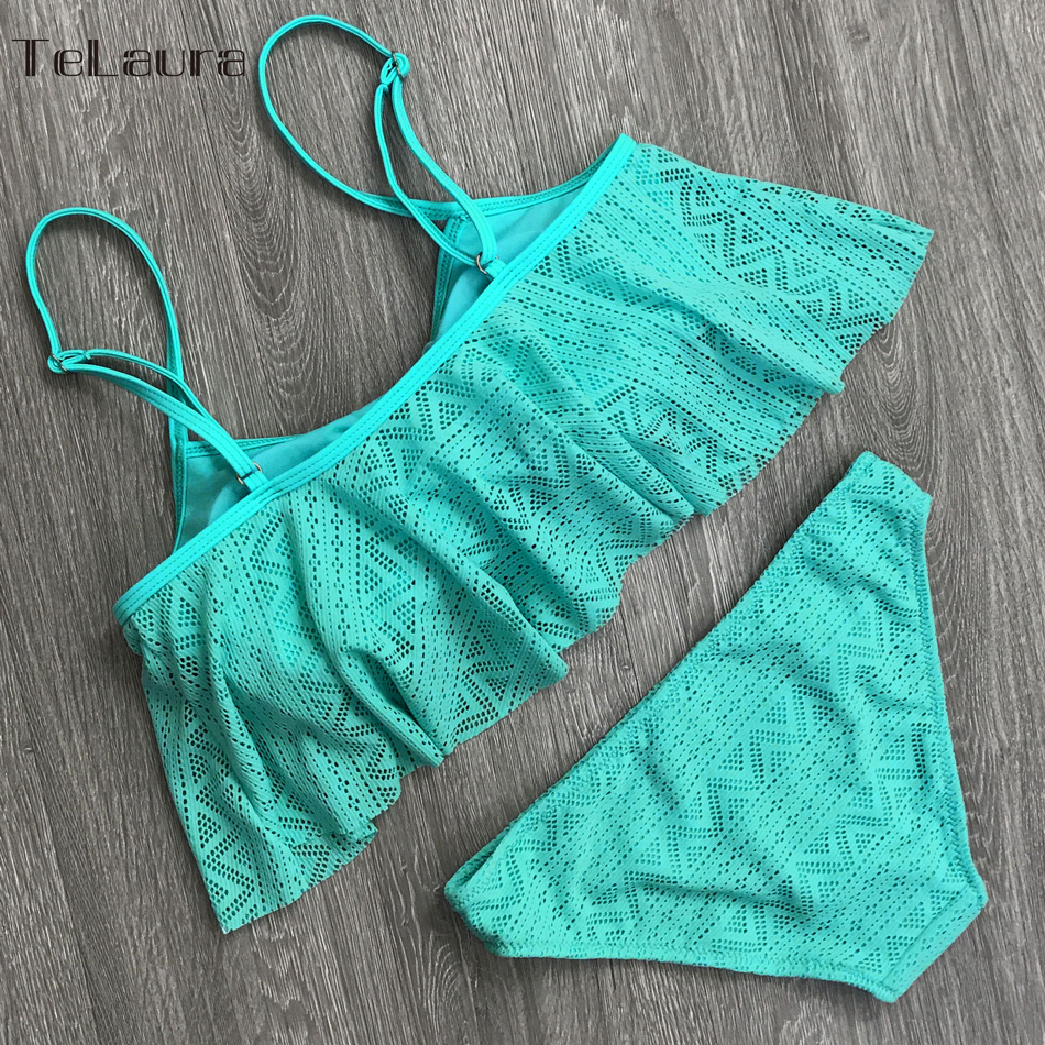 Sexy Ruffle Bikini, Women's Swimsuit, Push Up Swimwear, Lace Brazilian Bikini Set, Beachwear Mesh Bathing Suit 19