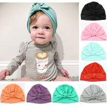 Kid Boy Girl Indian Style Stretchy Solid Turban Hat Hair Head Wrap Cap HATYS0048(China)