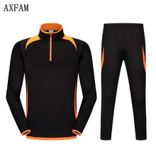 AXFAM Long sleeves Men's Soccer Jerseys Sets survetement football 2017 Running Football Jacket pants Training Suit LIE6500