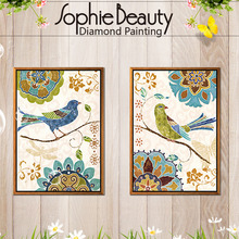 Diy Diamond Painting Cross Stitch Handcraft Embroidery Color Bird Animals White Flower Arts Crafts Sewing Needlework Mosaic kit(China)