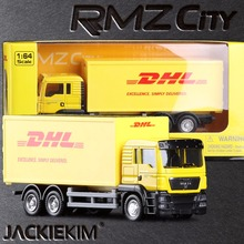 New RMZ city 1/64 Scale Express DHL Cargo Truck Alloy Car Model With Pull Back Collections For Children Gifts With Box