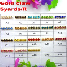 High density 5 yards/Roll Gold base claw ss6 2mm SS8 2.5mm SS10 2.8mm SS12 3mm rhinestone cup chain Sew On glue on diy trim(China)