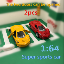 2pcs Discount package 1:64 LaF Alloy Sports car model Pull Back Double door Collection modification kids toys