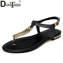 Big Size 33-43 Sumemr Women Leather Shoes Woman 2017 Comfortable Flat Heel Ankle Strap Sandals Metal Decoration Ladies Footwear(China)