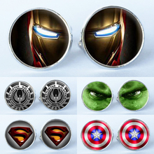 1Pair Manufacturers supply glass mosaic Super hero wedding cufflinks cuff links cuff shirt men black suit accessories