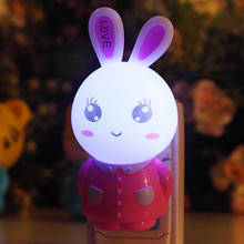 Bestfire  send by Random Cartoon small night light rabbit head LED light control small night market place creative product