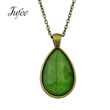Jufee Ethnic Necklace Antique Gold-Color Silver Chain with Blue Green Leaf Pattern Water Drop Pendant Necklace Collier Femme(China)