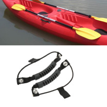 New 2pcs Kayak Canoe Boat Side Mount Carry Handle with 0.5cm Diameter Bungee Cord Accessories Black Rubber Handle Fixing Paddle(China)