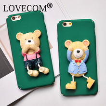 DIY Cute Bear Case For iPhone 7 Case Cartoon Bear Capa Back Cover Scrub Hard PC Phone Cases For iPhone 6 6S 7 7 Plus Coque