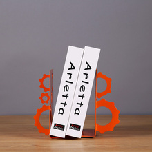 Decorative Metal Crafts Wheel Gear Design Bookend Metal Bookmark for Study Room Ornament Plating Orange Iron Bookend for Home(China)