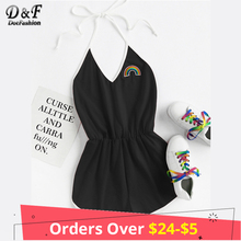 Buy Dotfashion Rainbow Patch Contrast Binding V neck Halter Black Sexy Romper Summer Women Embroidery Patched Backless Playsuits