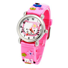 High quality Waterproof Kids Silicone 3d Wristwatches Hello kitty Brand Quartz Wrist Watch Baby For Girls Boys Fashion Casual