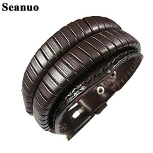 Seanuo 26cm Classical Double Layer Handmade Genuine Leather wrap Man Bracelets fashion punk belt charming biker sport bracelets