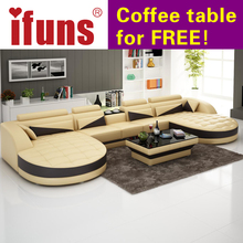 IFUNS european style living room furniture,modern recliner sofas,u shaped brown classic leather floor sofa